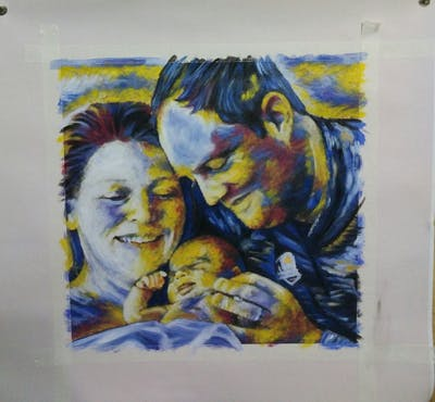 A painting of child, father, smile, mother, childbirth, family, happiness, girl, love, daughter