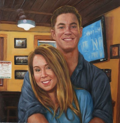 A painting of facial expression, bar, drink, restaurant, fun, pub, smile, interaction, socialite, girl