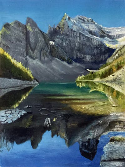 A painting of reflection, nature, tarn, wilderness, mountain, lake, mount scenery, glacial lake, nature reserve, mountain range