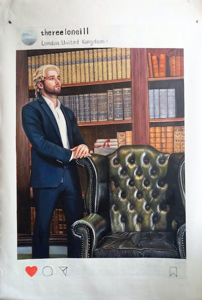 A painting of furniture, gentleman, human behavior, chair, advertising