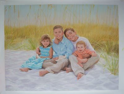 A painting of people, photograph, sitting, photography, family, fun, vacation, child, grass, father