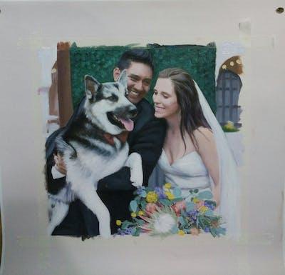 A painting of dog breed, dog, dog breed group, dog like mammal, companion dog, siberian husky, wolfdog