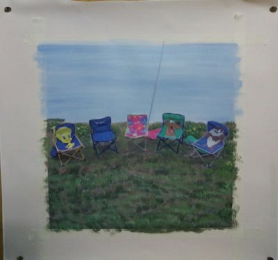 A painting of chair, grass, leisure, camping, vacation, product, play, recreation, tree