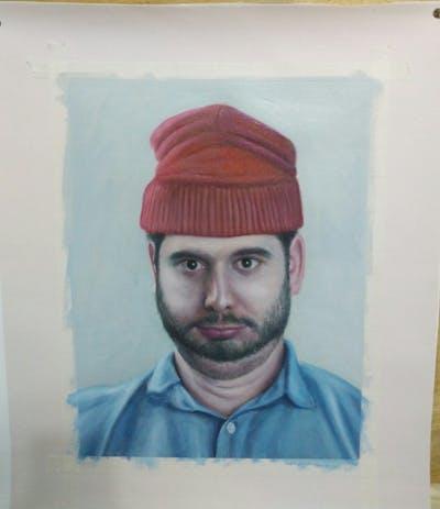 A painting of facial hair, chin, forehead, moustache, headgear, portrait, cheek, beard, cap, turban