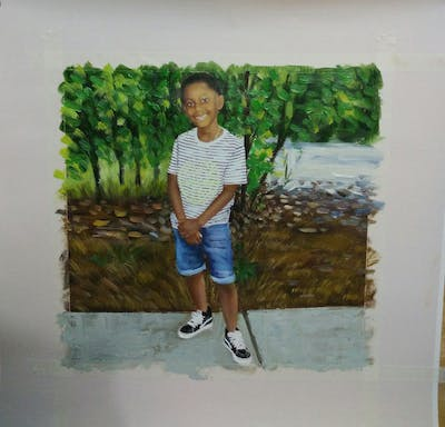 A painting of clothing, child, footwear, standing, day, boy, jeans, shoulder, male, shorts