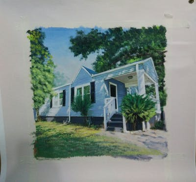 A painting of house, home, property, cottage, real estate, farmhouse, siding, tree, plantation, facade