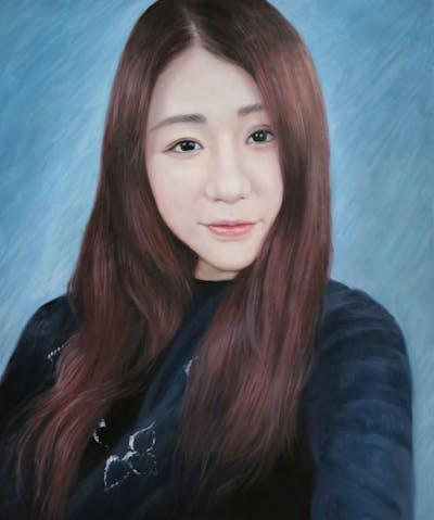 A painting of hair, human hair color, hairstyle, chin, forehead, hair coloring, long hair, cheek, black hair, bangs