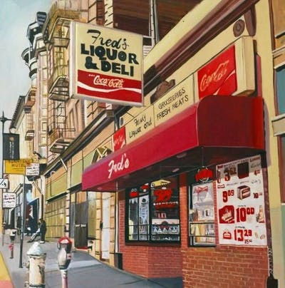 A painting of city, neighbourhood, street, advertising, building, downtown, signage, facade, fast food restaurant, convenience store
