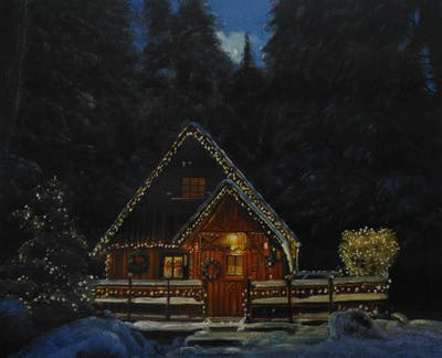 A painting of winter, snow, nature, home, tree, night, lighting, log cabin, house, christmas decoration