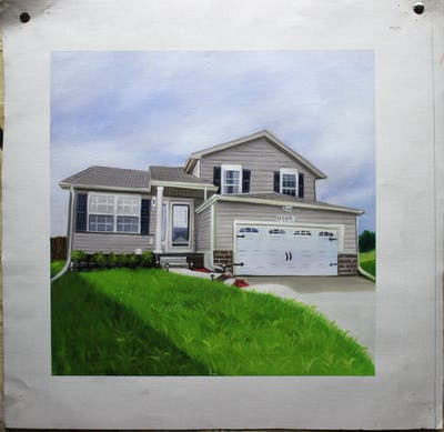 A painting of home, property, house, siding, real estate, residential area, elevation, facade, estate, building