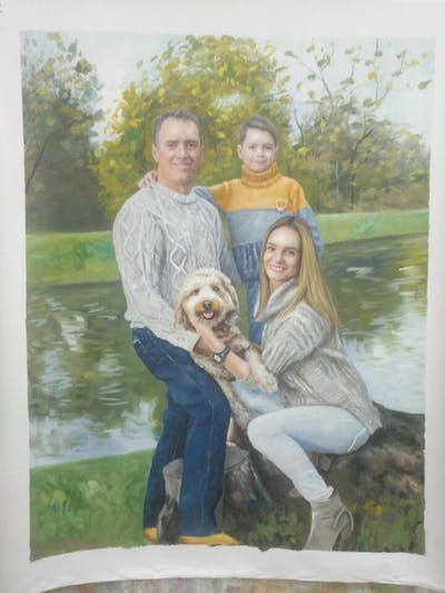 A painting of people, photograph, vertebrate, photography, family, fun, tree, dog breed, grass, portrait photography