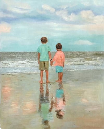 A painting of sea, beach, photograph, vacation, body of water, ocean, shore, fun, sky, wave