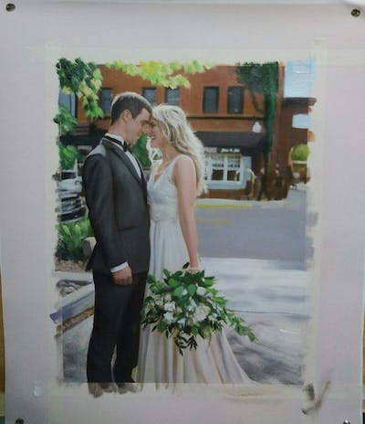 A painting of gown, wedding dress, bride, photograph, bridal clothing, dress, wedding, flower, flower arranging, groom