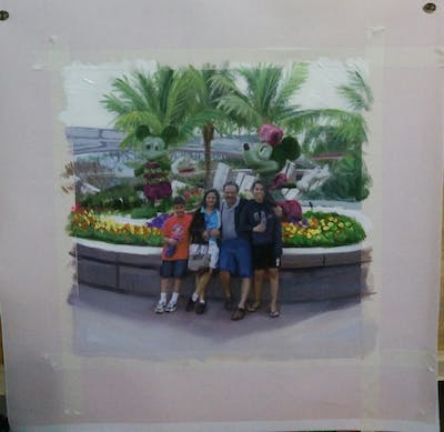 A painting of recreation, plant, product, vehicle, tourism, tree, fête, leisure