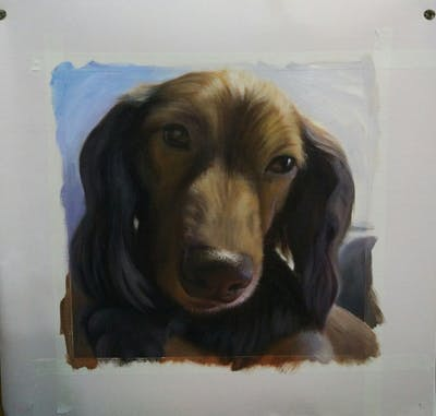A painting of dog, dog breed, nose, snout, dog like mammal, dachshund, fur, puppy, field spaniel, ear