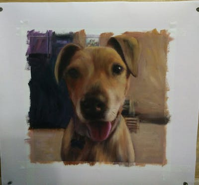 A painting of dog breed, dog, nose, snout, dog breed group, dog crossbreeds, dog like mammal, ear, black mouth cur, whiskers