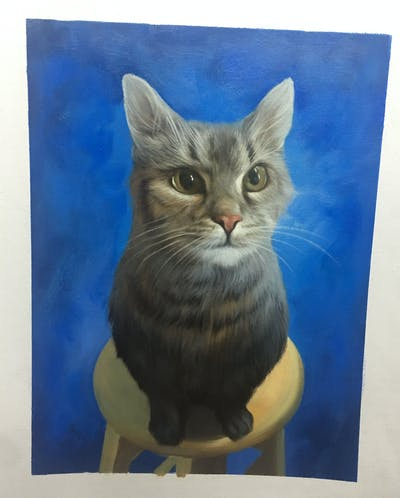 A painting of cat, small to medium sized cats, dragon li, cat like mammal, whiskers, domestic short haired cat, tabby cat, european shorthair, american shorthair, california spangled