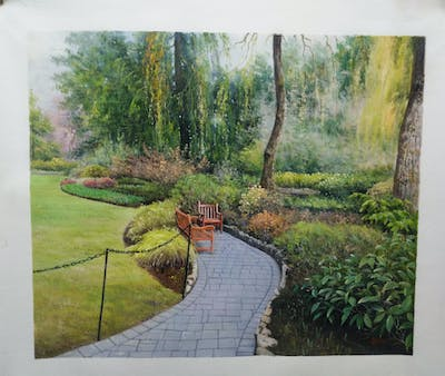 A painting of walkway, garden, vegetation, path, plant, botanical garden, landscape, tree, landscaping, grass