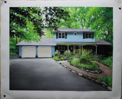 A painting of house, home, property, architecture, tree, cottage, real estate, residential area, siding, plant