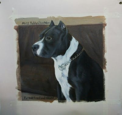 A painting of dog breed, dog, dog like mammal, dog breed group, american staffordshire terrier, snout, american pit bull terrier, carnivoran, pit bull, bully kutta