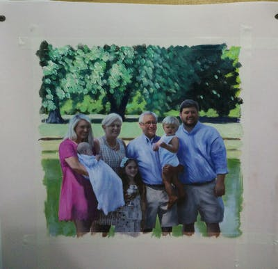 A painting of people, social group, community, fun, senior citizen, tree, family, recreation, picnic, family reunion