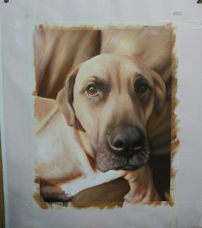 A painting of dog, dog breed, nose, snout, dog like mammal, rhodesian ridgeback, broholmer, black mouth cur, boerboel, tosa