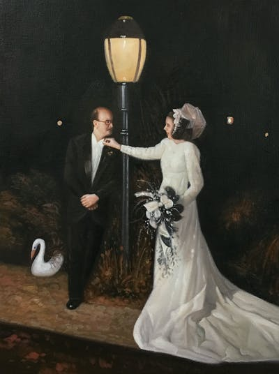 A painting of gown, dress, ceremony, bridal clothing, wedding dress, wedding, bride, event, girl, marriage