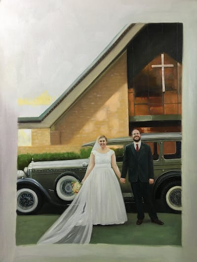 A painting of car, land vehicle, photograph, luxury vehicle, bride, vehicle, wedding dress, gown, bridal clothing, automotive design