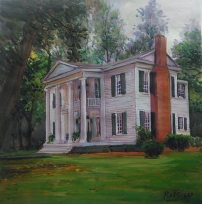 A painting of house, property, home, estate, mansion, historic house, real estate, farmhouse, plantation, building