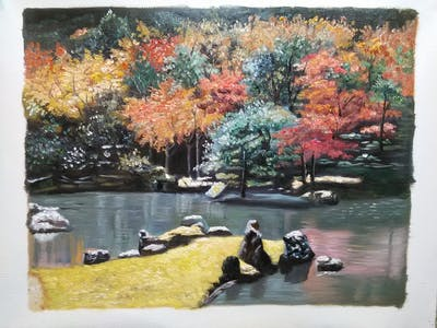 A painting of reflection, water, nature, leaf, plant, tree, autumn, woody plant, waterway, vegetation