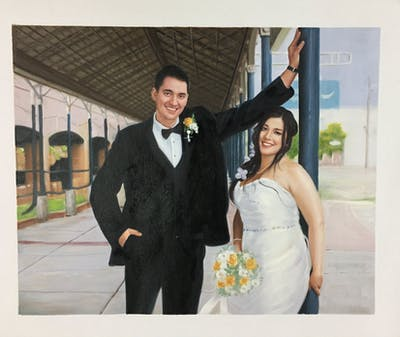 A painting of photograph, woman, bride, wedding, ceremony, event, groom, suit, gown, groom