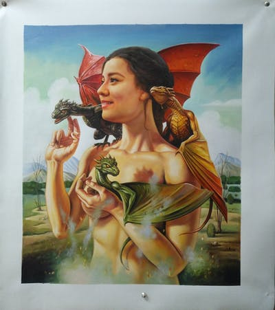 A painting of mythology, mythical creature, cg artwork, fictional character, woman warrior, art, supernatural creature, fairy, illustration, pin up girl