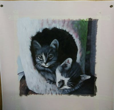 A painting of cat, small to medium sized cats, whiskers, cat like mammal, kitten, fauna, domestic short haired cat, black and white, fur, european shorthair