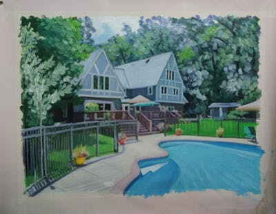 A painting of property, home, leisure, house, cottage, real estate, estate, backyard, swimming pool, yard