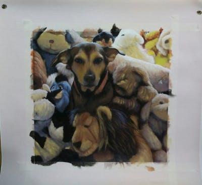A painting of dog, dog breed, dog like mammal, snout, stuffed toy, fur, carnivoran, dog breed group, plush, puppy