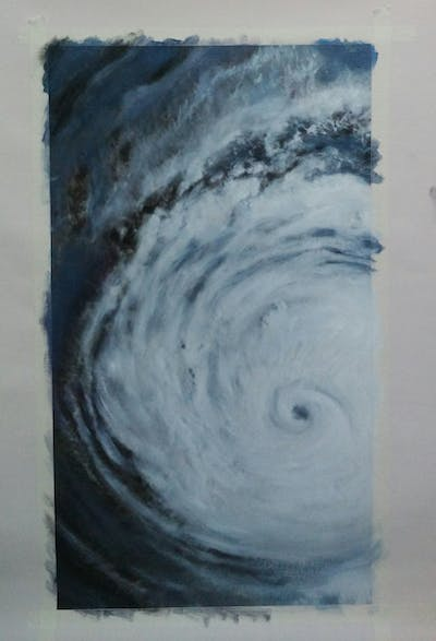 A painting of tropical cyclone, cyclone, wave, atmosphere, atmosphere of earth, black and white, wind wave, phenomenon, storm, water
