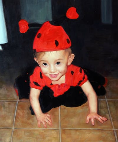 A painting of red, clothing, headgear, child, costume, toddler, flooring, floor, fun, product