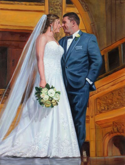A painting of gown, wedding dress, bride, photograph, bridal clothing, dress, wedding, ceremony, groom, veil