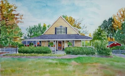 A painting of home, house, property, cottage, farmhouse, real estate, estate, residential area, sky, tree