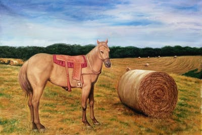 A painting of horse, horse like mammal, stallion, mare, pack animal, horse supplies, mane, mustang horse, western riding, livestock