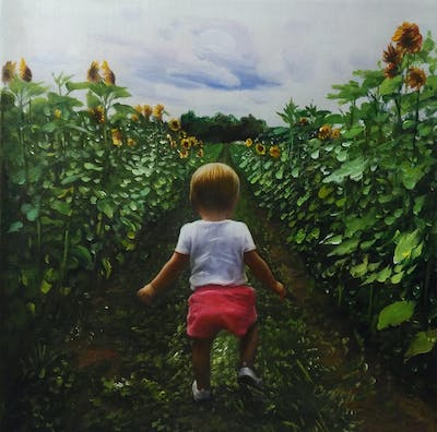 A painting of plant, field, agriculture, leaf, crop, grass, child, flower, farm, summer