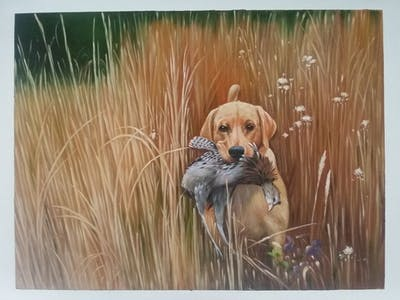 A painting of dog, dog breed, grass, grass family, hunting dog, snout, wildlife, labrador retriever, sporting group, prairie