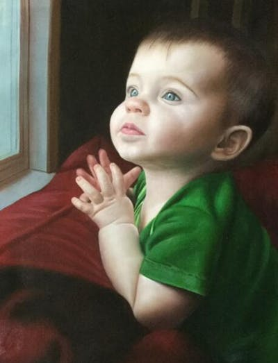 A painting of child, face, skin, green, cheek, human hair color, beauty, nose, head, eye