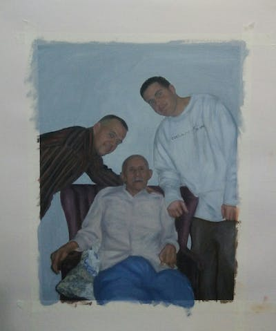 A painting of person, man, senior citizen, professional, sitting, fun, family