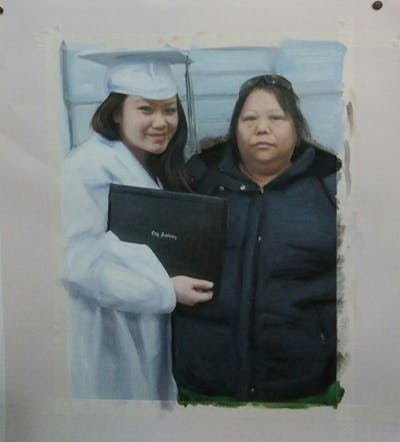 A painting of academic dress, graduation, product, smile, scholar, girl, academician, mortarboard, professional