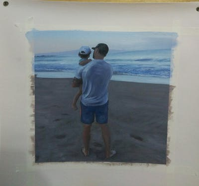 A painting of beach, sea, man, ocean, vacation, body of water, sky, water, shore, coast