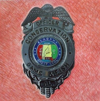 A painting of badge, font, emblem