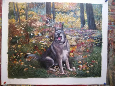 A painting of leaf, woody plant, dog like mammal, plant, wildlife, woodland, saarloos wolfdog, tree, autumn, czechoslovakian wolfdog