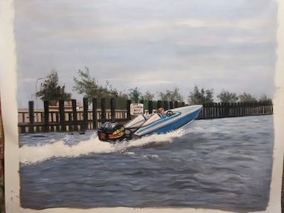 A painting of waterway, water transportation, boat, boating, motorboat, sailing, skiff, watercraft, surface water sports, water