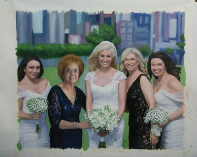 A painting of photograph, woman, bride, wedding, flower, gown, ceremony, flower arranging, bridesmaid, wedding dress
